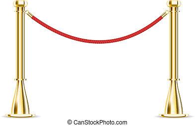 Una cuerda de barrera aislada en blanco