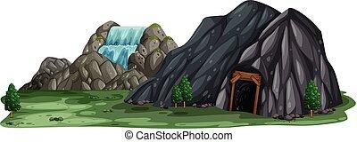Una cueva minera de fondo blanco