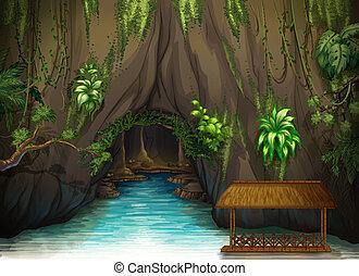 Una cueva, un agua y una sombra de madera