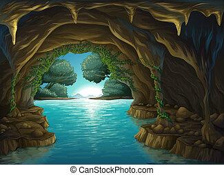 Una cueva y un agua