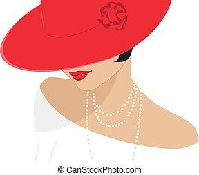 Una dama con un sombrero rojo