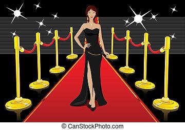 Una dama gloriosa en alfombra roja
