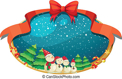 Una decoración de Navidad con cuatro muñecos de nieve