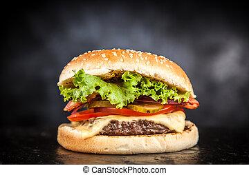 Una deliciosa hamburguesa a la parrilla