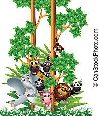 Una divertida colección de dibujos animados de animales