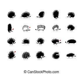Una divertida colección de erizos, silueta negra para tu diseño