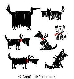 Una divertida colección de perros negros para tu diseño