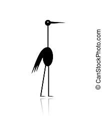 Una divertida silueta negra cigüeña para tu diseño