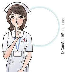 Una enfermera joven pidiendo silencio
