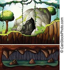 Una entrada de una cueva y una escena subterránea