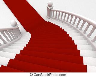 Una escalera de alfombra roja