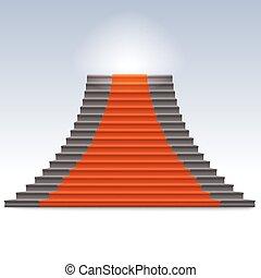 Una escalera de piedra realista con alfombra roja.
