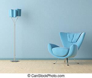 Una escena de diseño azul