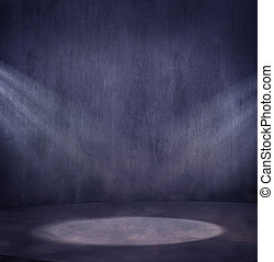 Una escena de grungy vacía con dos gotas