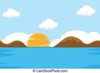 Una escena del mar plana