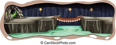 Una espeluznante cueva de dragón oscuro