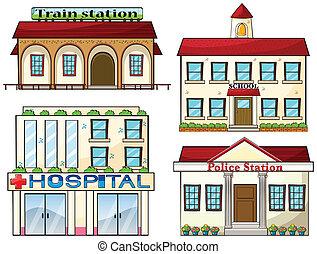 Una estación de tren, una escuela, una estación de policía y un hospital