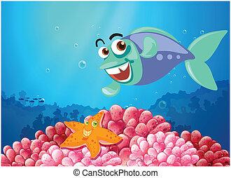 Una estrella de mar y un pez bajo el mar