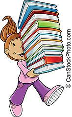Una estudiante llevando libros