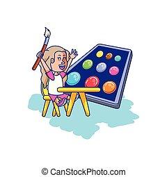 Una estudiante sentada en el escritorio de la escuela con colores de paleta