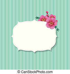 Una etiqueta antigua con flores de sakura