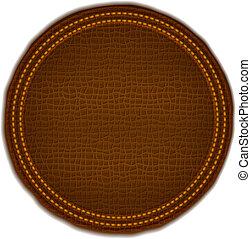 Una etiqueta de cuero marrón