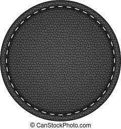 Una etiqueta de cuero negro