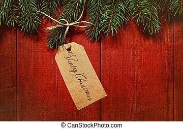 Una etiqueta de regalo en la madera roja