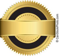 Una etiqueta en blanco de oro con costillas doradas