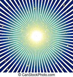 Una explosión azul con estrellas
