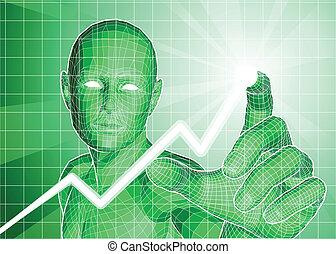 Una figura futurista que rastrea la tendencia del gráfico