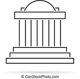 Una fina columnata griega con sombra