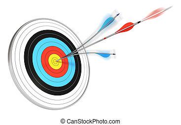 Una flecha azul se dividió con una flecha roja golpeando el centro de un objetivo, 3D rendición sobre fondo blanco