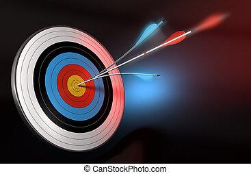 Una flecha azul se dividió con una flecha roja que golpeaba el centro de un blanco, tres se inclinó sobre negro, azul y rojo fondo