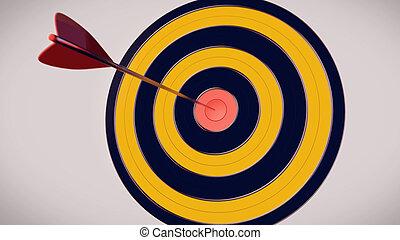 Una flecha de dardos rojos en el centro de dardos