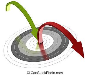Una flecha verde alcanza el centro de un blanco gris y una roja rebotando fuera del objetivo, blanco fondo