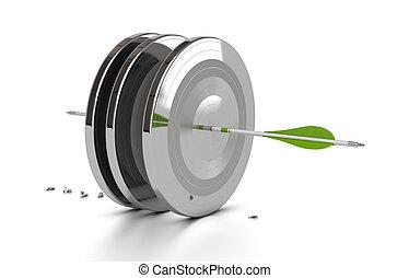 Una flecha verde golpea el centro de tres objetivos de metal y penetra a través de ellos, 3D sobre fondo blanco con sombra