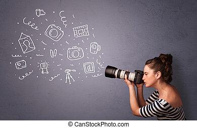 Una fotografica que dispara iconos fotográficos