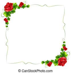 Una frontera floral con rosas rojas