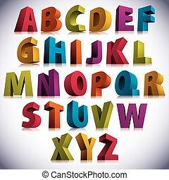 Una fuente 3D, grandes letras coloridas en pie.