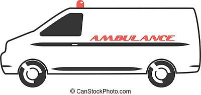 Una furgoneta de ambulancias con diseño plano
