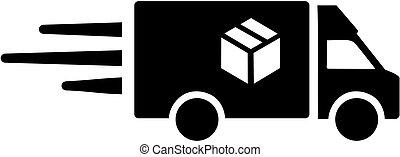 Una furgoneta de reparto para paquete