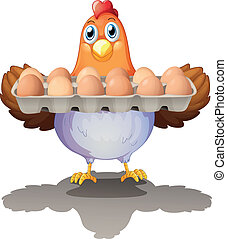 Una gallina sosteniendo una bandeja de huevos