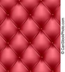 Una genuina tapicería de cuero roja.
