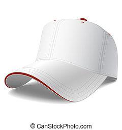 Una gorra blanca de béisbol