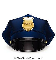 Una gorra de la policía llena de caca