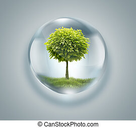 Una gota de agua con un árbol dentro