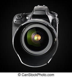 Una gran cámara DSLR profesional de fondo negro