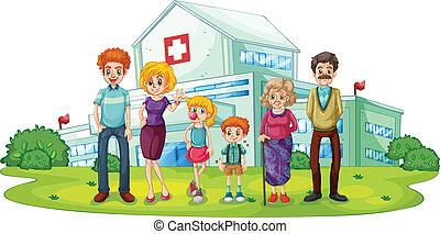 Una gran familia cerca del hospital