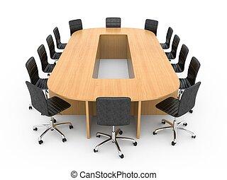 Una gran mesa redonda de madera con sillas